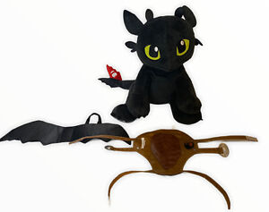 Build A Bear Toothless  Plush How To Train Your Dragon Black With Harness Wings