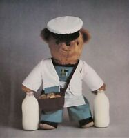 DAIRYBEAR The Milkman vintage 80s teddy bear toy sewing pattern Valerie Janitch