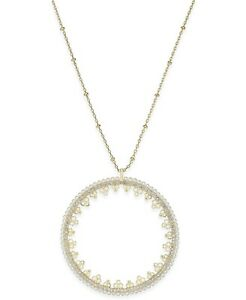 Kate Spade 'Chantilly Charm' Pave Pearl Open Disc Circle Pendant Necklace, NWT