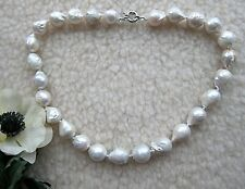 Large White South Sea Reborn Keshi Baroque Pearl Necklace.