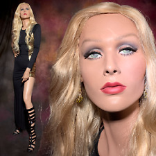 Vintage Realistic Full Life Size Female Mannequin Gorgeous Face With Green Eyes