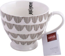 LA CAFETIERE Large Fine China TAUPE BUNTING Footed MUG
