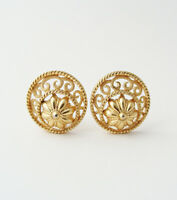 Vintage Signed CROWN TRIFARI Filigree Earrings … Round, Gold Tone, Clip On
