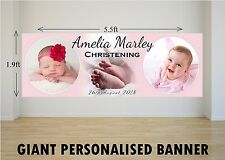 Personalised Giant Large Girls Pink Christening Baptism Poster Banner N3