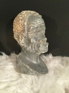Hand carved Marble Stone Tribal African Caribbean Man Bust Sculpture Vintage Art