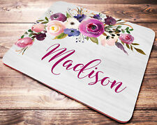 Floral Name Personalized Mouse Pad Pink Purple Coworker Gift Desk Accessories
