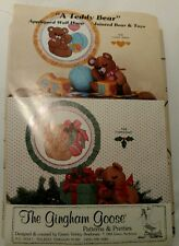 Gingham Goose Teddy Bear Appliqued Wall Hoop Jointed Bear Toys Sewing Pattern Uc