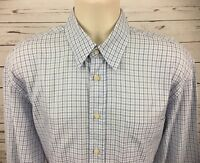 Canali Mens L Button Up Dress Shirt Long Sleeve Blue White Plaid Made In Italy