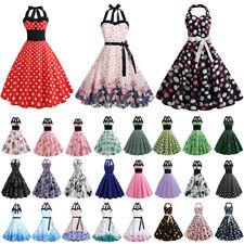 Damen Retro Rockabilly Petticoat 50er Jahre Neckholder Partykleid Skaterkleid DE