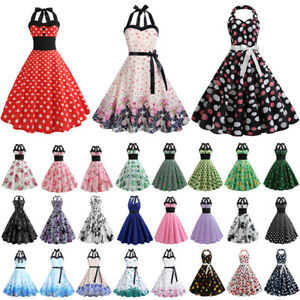 Frauen Retro Neckholder Partykleid 50er Jahre Petticoat Rockabilly Skaterkleid