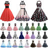 Womens Halter Neck 50s 60s Vintage Rockabilly Swing Pinup Evening Party Dress