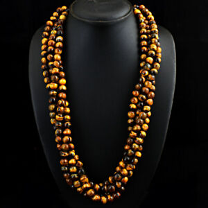 Exclusive 1183.00 Cts Natural Golden Tiger Eye Round Beads Necklace JK 10E283