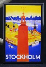 """Stockholm Vintage Travel Poster 2"""" X 3"""" Fridge / Locker Magnet. Sweden Europe"""