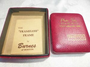 VINTAGE FRAMELESS FRAME by Burnes of Boston Red Leather Photo Tote NOS