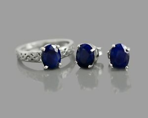 Natural Gemstone Blue Sapphire 925 Sterling Silver Oval Ring Earring Jewelry Set