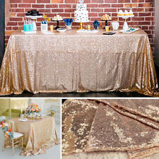 Rectangle Champagne Sequin Tablecloth Wedding Party Home Decor Doilies 39x59''