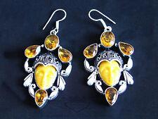 925 Silber-Ohrringe mit geschnitzten Gesicht, Achat, Citrin, Silber, Edelstein