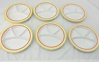 JSC 4-PLACE STONEWARE FONDUE / SUSHI PLATES, LOT OF SIX