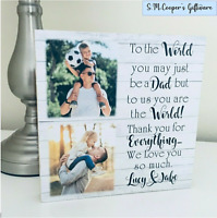 PERSONALISED FATHER'S DAY GIFT large freestanding photo text wooden plaque block