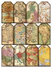 12 Vintage Antique Maps Hang Tags Scrapbooking Paper Crafts (171)