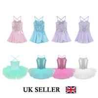 UK Girls Ballet Dance Dress Gymnastics Sequins Leotard Tutu Skirt Swan Dancewear