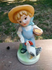 Vintage Collectible Porcelain Young Farm Boy Feeding Chicken Hen Figurine