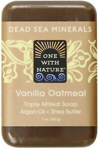 Dead Sea Mineral Bar Soap by One With Nature, 7 oz Vanilla Oatmeal