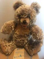 """Vintage Steiff 17""""  Zotty Teddy Bear and 10.5"""" Baby Bear, Curly Mohair"""
