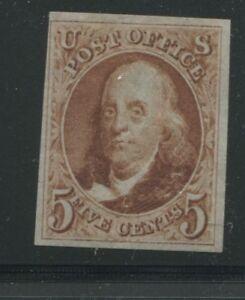 1875 US Stamp #3 5c Mint No Gum VF Imperf Catalogue Value $1300