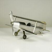 Doppeldecker Aluminium Tisch Deko Modell Vintage Biplane Desk Airplane 60er 70er