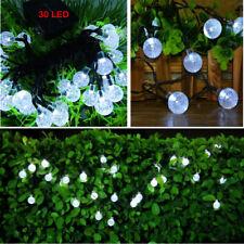 30 LED Crystal Ball Globe Lights Solar Indoor Outdoor Decor String Light White