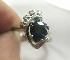 14K SOLID WHITE GOLD PEAR SHAPED BLUE SAPPHIRE RING W/ DIAMONDS