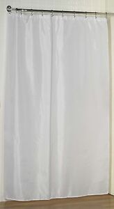 Extra Long Fabric Shower Curtain Liner/Water repellent/Weighted Hem