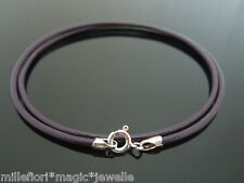 """2mm Dark Purple Leather & Sterling Silver Necklace Or Wristband 16"""" 18"""" 20"""" 22"""""""
