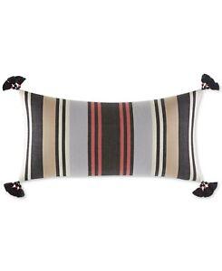 """Martha Stewart Bedding Whim Indie Stripe 28"""" x 14"""" Decorative Pillow Tan H5040"""