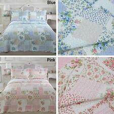 Cotswold Floral Patchwork Quilted Throw Bedspread & Pillowshams Throwover