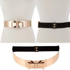 WOMEN HIGH Waist Band Wide Mirror Gold Metal Bow Plate Black Elastic Belt OBI