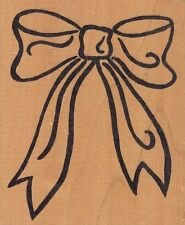 """bow outline hot potatoes Wood Mounted Rubber Stamp  3 1/2x 4""""  Free Shipping"""