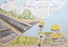 Vintage Fauvist Gouache Painting Cityscape Sign