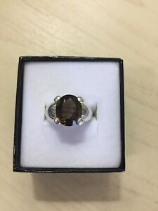 Genuine Sterling Silver 925 Brown Smoky Quartz Signet Ring Band - Size 7.5
