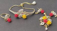 BRAND NEW ROSE INSPIRED ZIRCONIA AMERICAN DIAMOND PULLING BRACELET & PENDANT SET