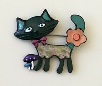 Adorable vintage  style large Cat  brooch in enamel on metal