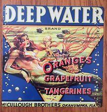 Mermaid Ocean Deep Water Florida Fruit Crate Label Art Poster Print Metal Sign