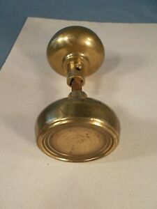 Antique Victorian 1890s Round Ribbed Cast Brass Door Knob pair
