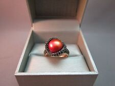 QVC Bronze Italy Ring Pearl  Deep Coral Color Size 9 Black Spinel New Retired