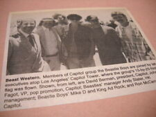 Beastie Boys at top of Capitol Records Building 1989 music biz promo pic/text