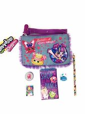 Shopkins Denim Purse With Zipper With Pencil Pad Eraser Ink Stamp Gift Bundle