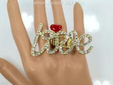Crystal Big LOVE Statement Ring - 3 Colors
