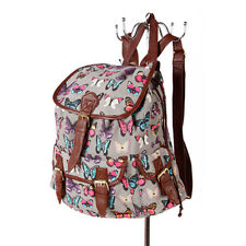 Miss K. Vintage Collection Stylish Canvas Backpack - Butterfly Grey