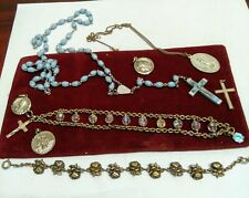 Vintage Rosary Beads Plus Religious Related Bracelets & Pendants Lot